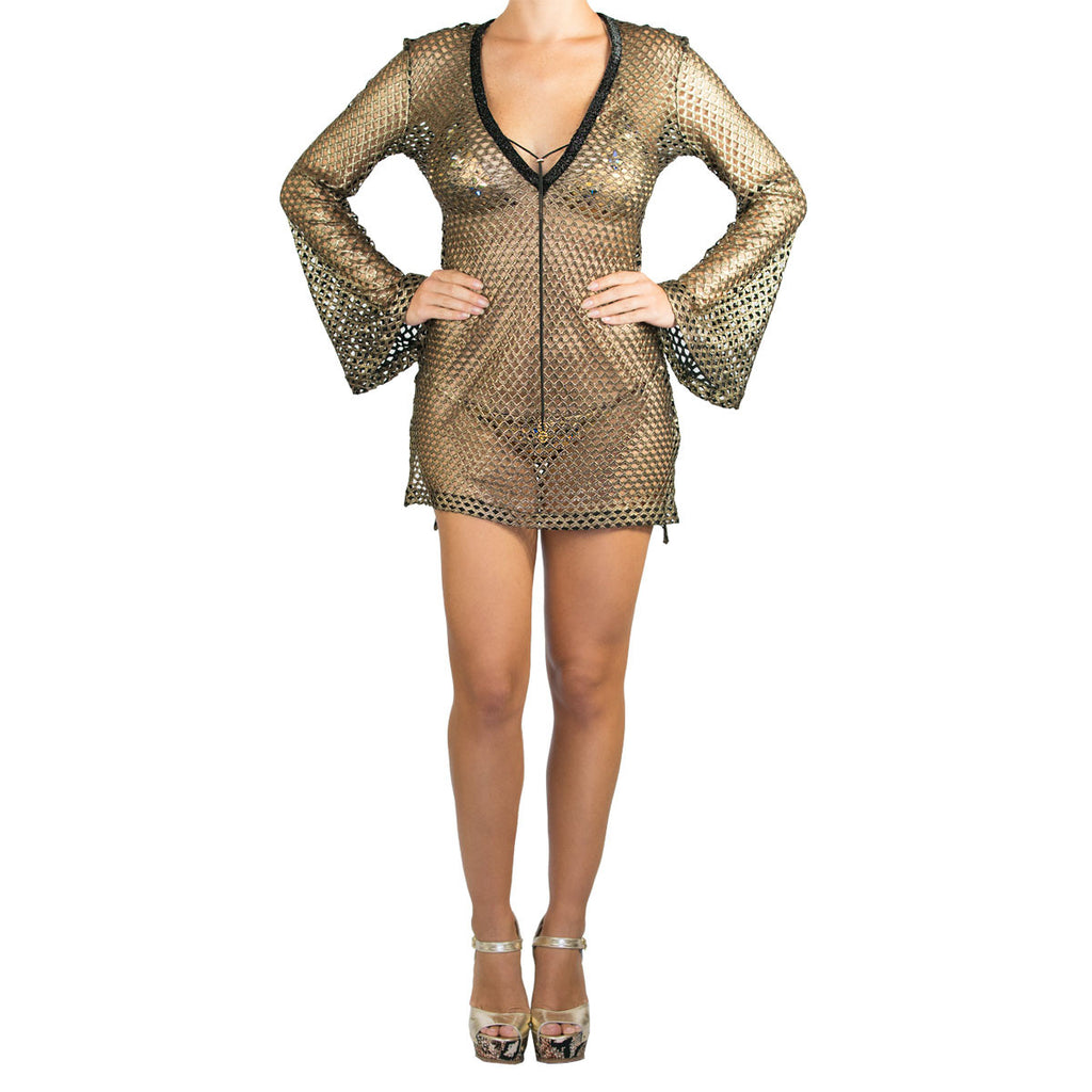 Cover Ups , Fitted Tunic with Bell Sleeves in Metallic Gold Net, Thalassa Boom Resort Wear