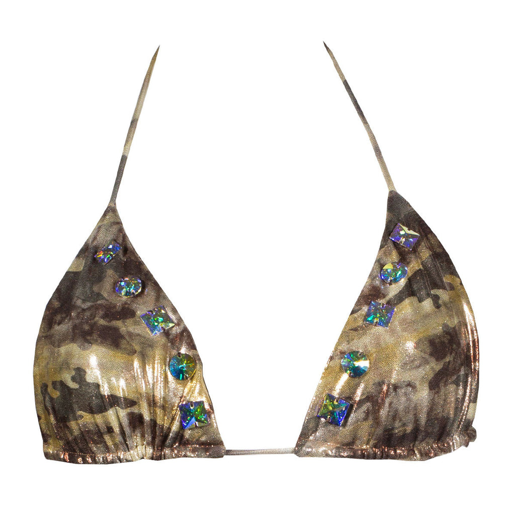 Swimwear - Camouflage Gold Triangle Bikini Top with Swarovski Crystals -  Thalassa Boom - 3