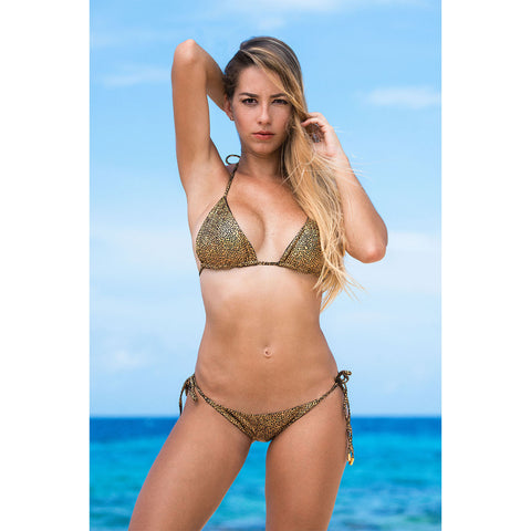 Camouflage Gold Halter Bikini Top with Swarovski Crystals