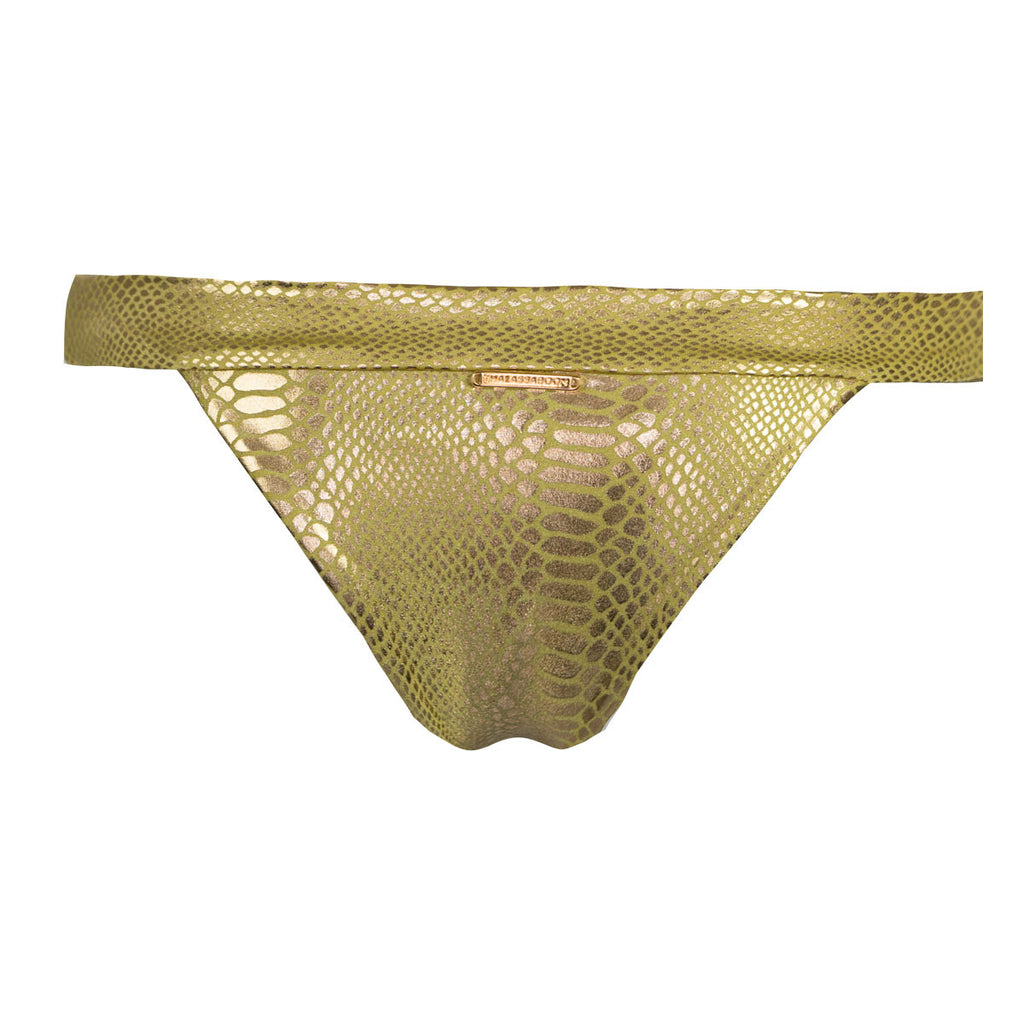Thalassa Boom Resort Wear, Snake Gold Cheeky Bikini Bottom with Swarovski Crystals, Designer swimwear