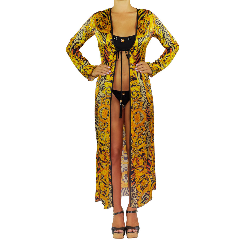 Long Kimono with Gold & Brown Chains Print in Silk -  Thalassa Boom