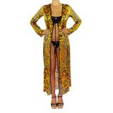 Cover Ups, Long Kimono with Gold & Brown Chains Print in Silk, Thalassa Boom Resort Wear