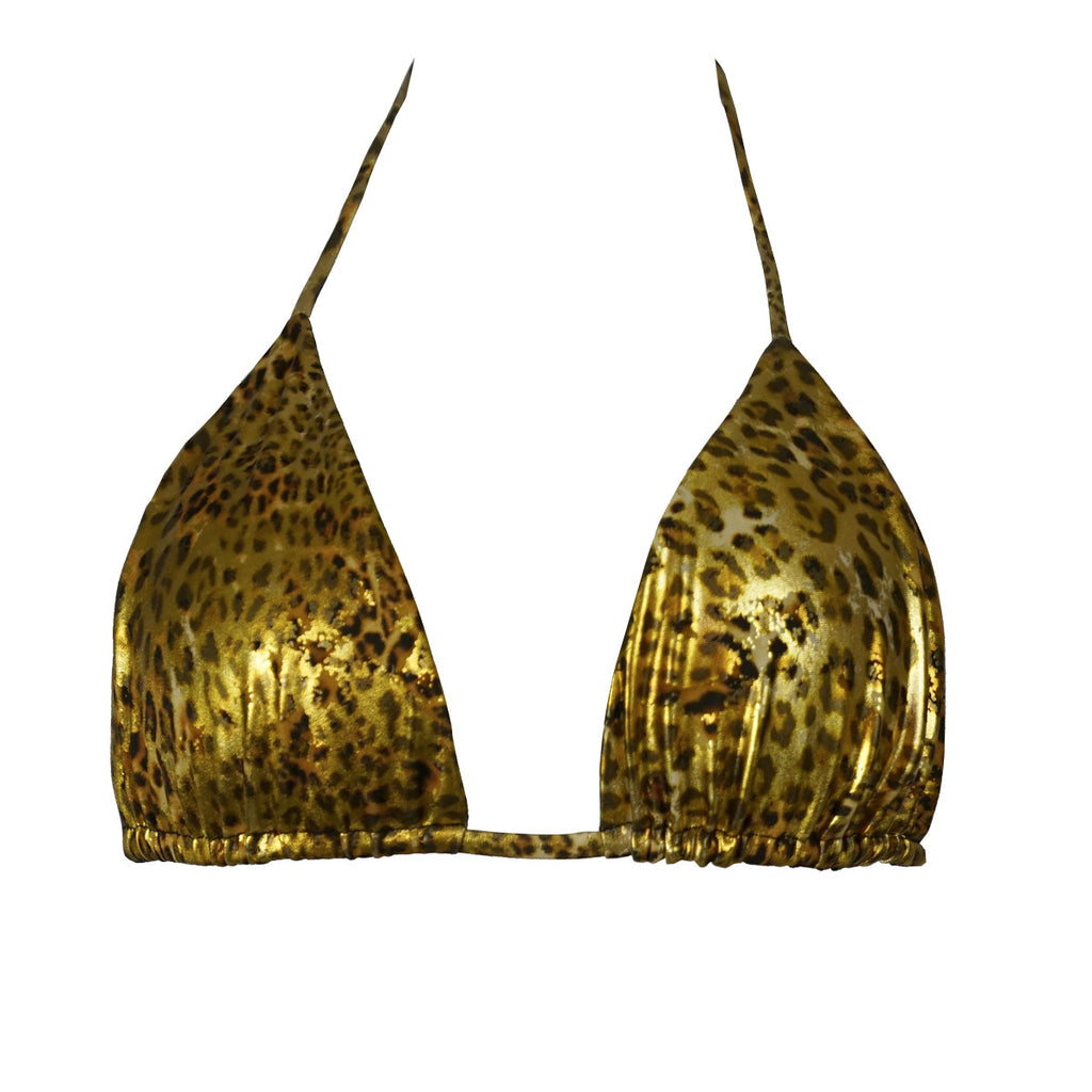 Cheetah Gold Triangle Bikini Top -  Thalassa Boom