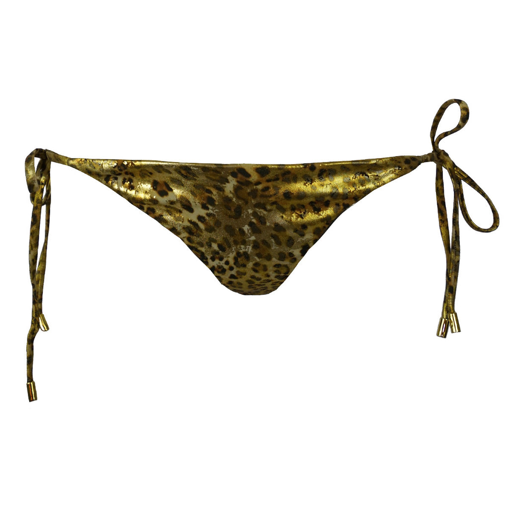 Cheetah Gold Ruched Back Tie Sides Bikini Bottom -  Thalassa Boom