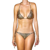 Thalassa Boom Resort Wear, Crack Gold Triangle Bikini Top, Designer Swimwear