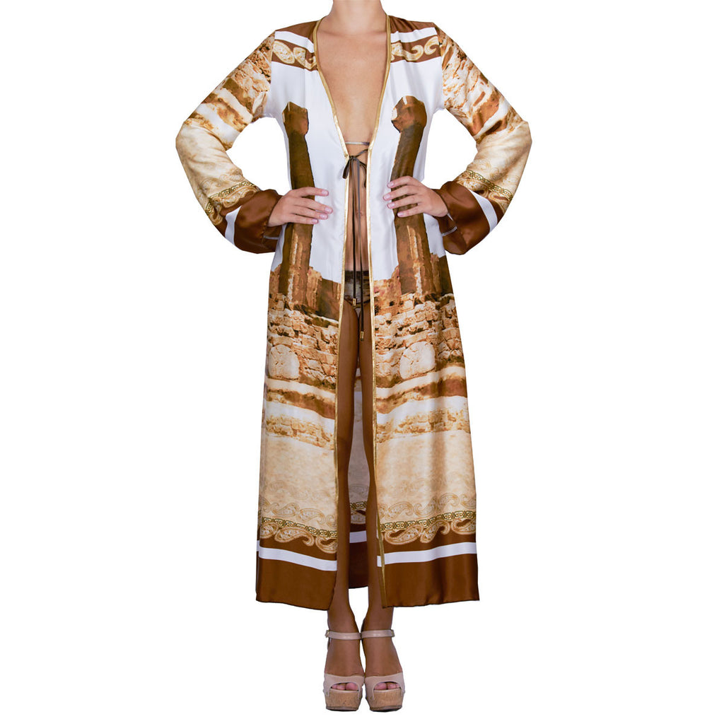Cover Ups, Long Kimono with Greek Ruins Print in Silk, Thalassa Boom Resort Wear