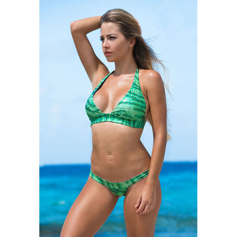 Triangle Bikini Top in Groene Slangenprint
