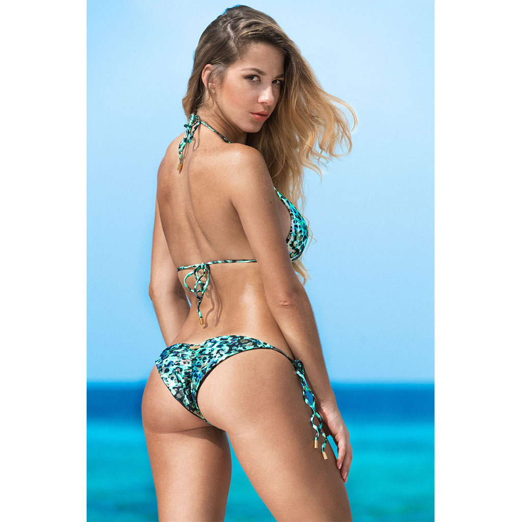 Swimwear - Animal Green Ruched Back Tie Sides Bikini Bottom -  Thalassa Boom - 2