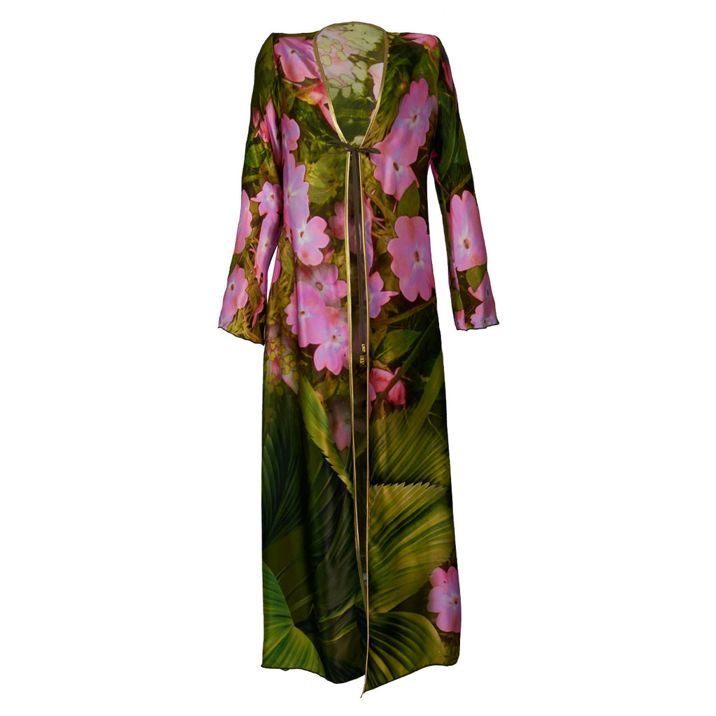 Cover Ups, Long Kimono with Green Garden & Pink Flowers Print in Silk, Thalassa Boom Resort Wear