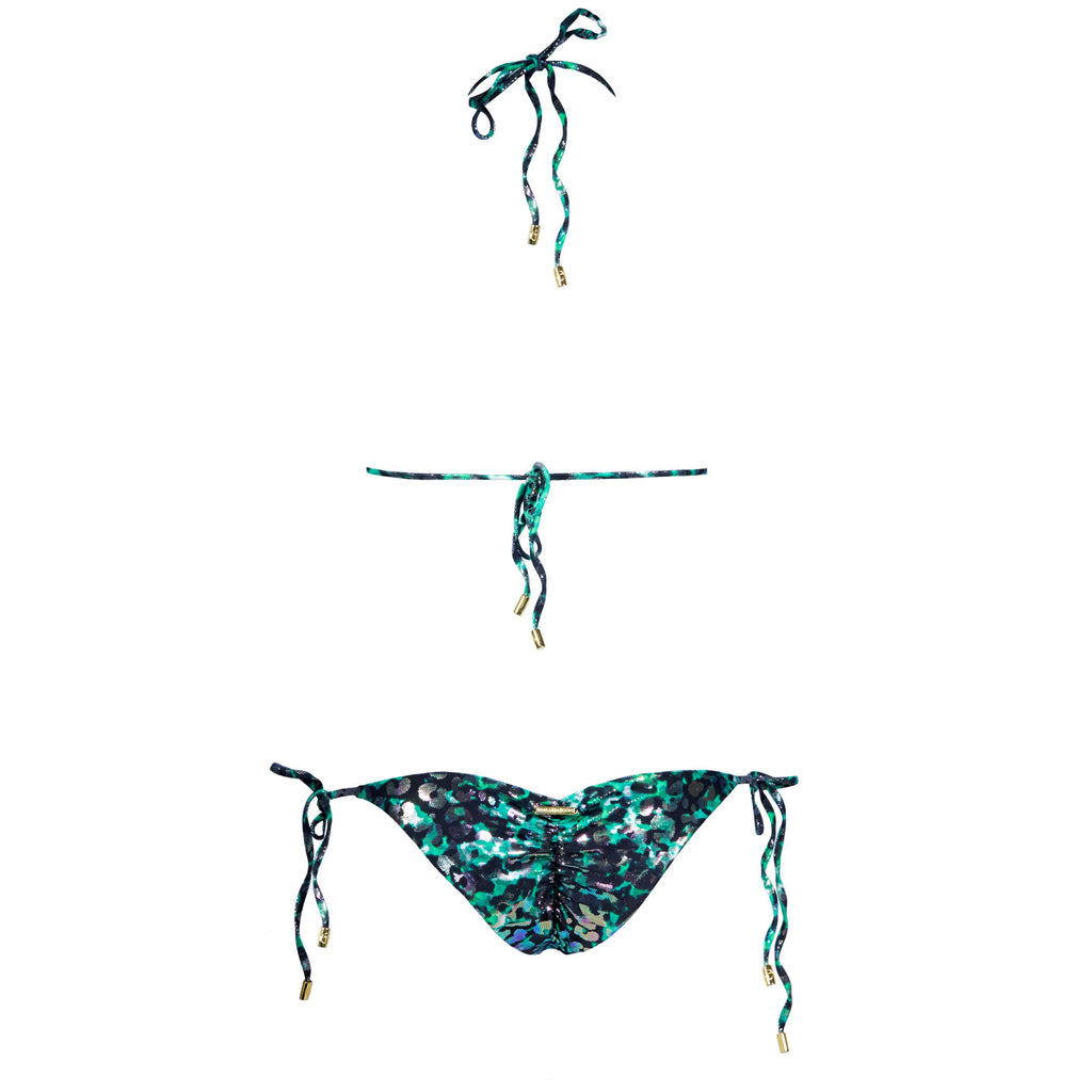 Swimwear - Animal Green Ruched Back Tie Sides Bikini Bottom -  Thalassa Boom - 7