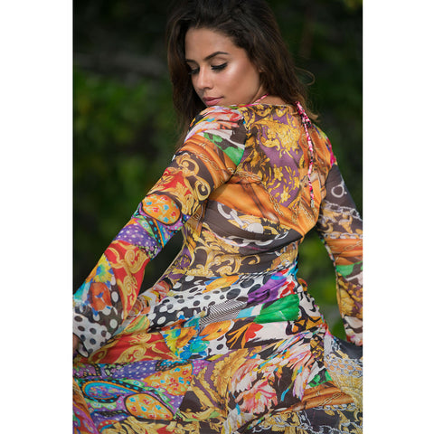 Long Kimono with Multicolor Print in Organza -  Thalassa Boom