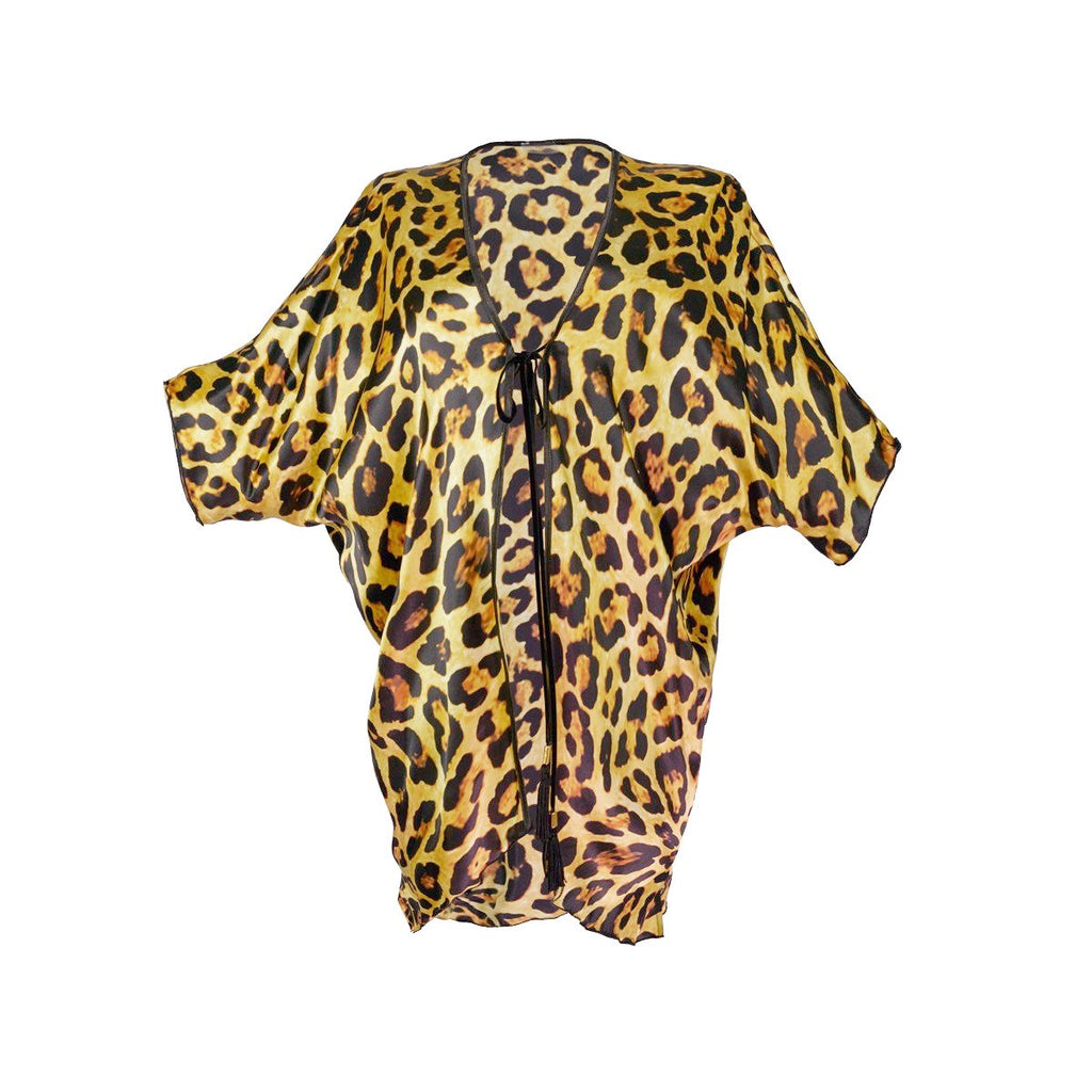 Cover-Ups, Short Kimono with Light Leopard Print in Silk, Thalassa Boom Resort Wear