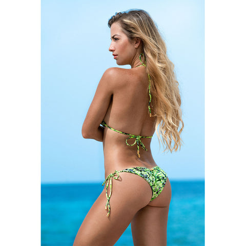 Snake Lime Green Triangle Bikini Top -  Thalassa Boom
