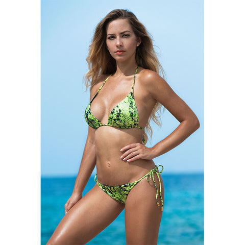 Snake Lime Green Triangle Bikini Top
