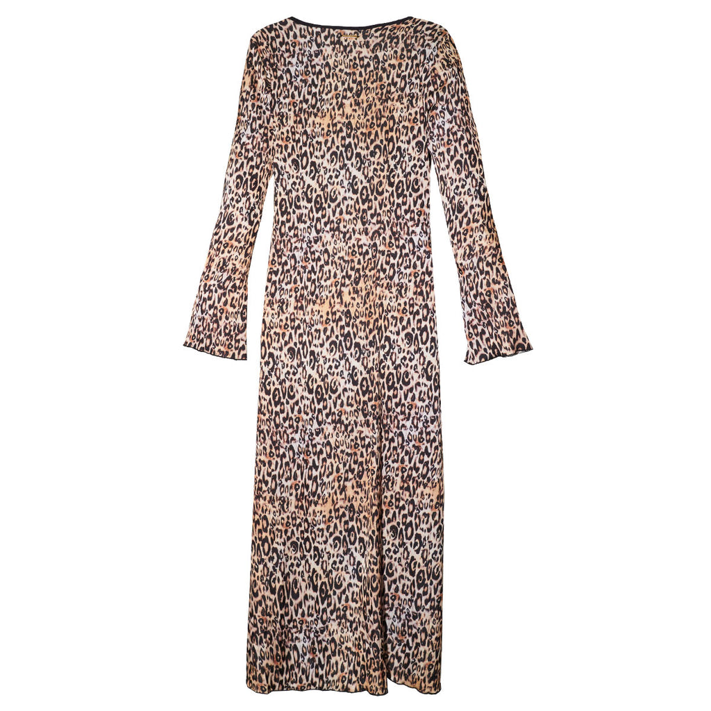 Cover Ups, Long Kimono with Little Leopard Print in Silk, Thalassa Boom Resort Wear