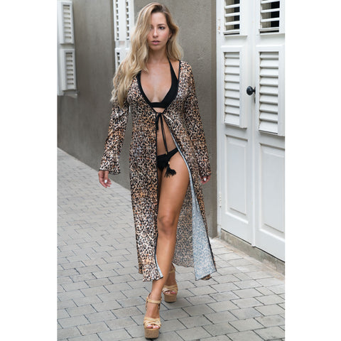 Long Kimono with  Flowery Cheetah Print in Silk
