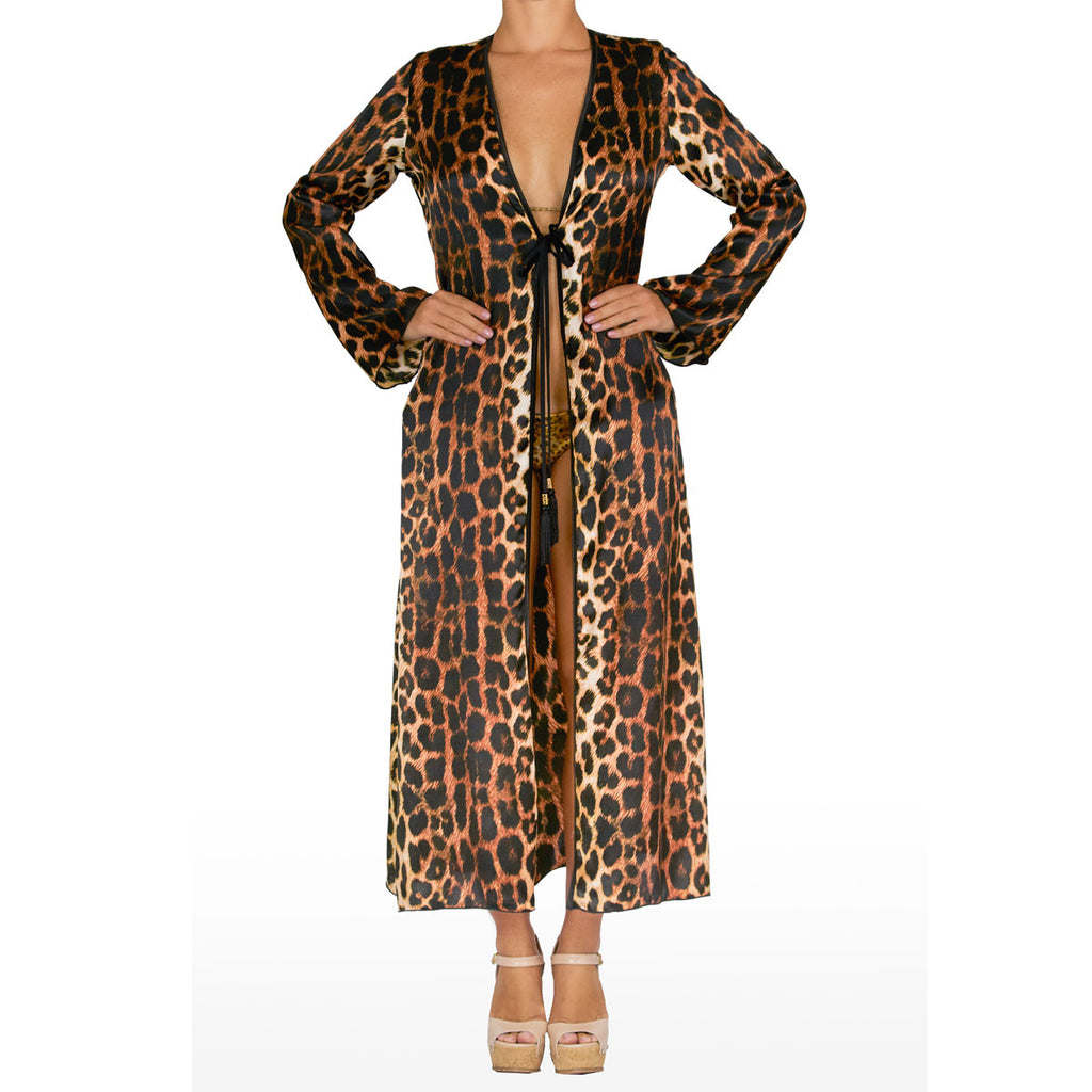 Cover Ups, Long Kimono with Dark Leopard Print in Silk, Thalassa Boom Resort Wear