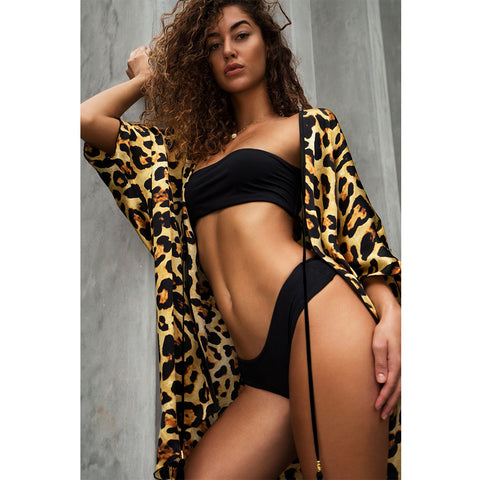 Short Kimono with Leopard Print in Silk