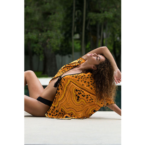 Short Kimono with Orange Leopard Print in Silk -  Thalassa Boom