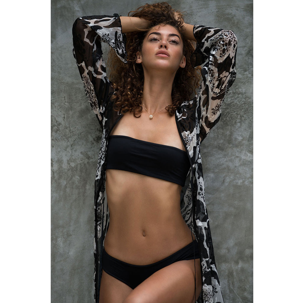 Long Kimono with White & Black Swirl Print in Silk -  Thalassa Boom