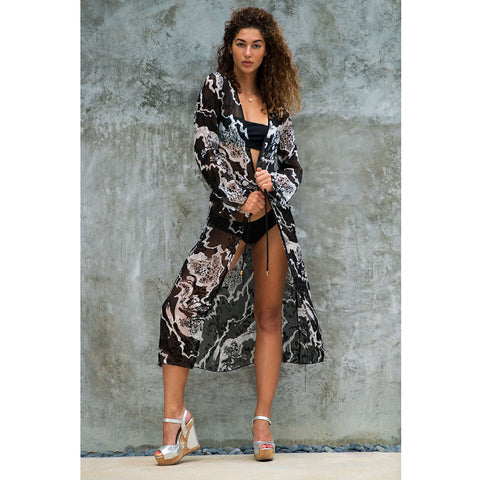 Long Kimono with White & Black Swirl Print in Silk
