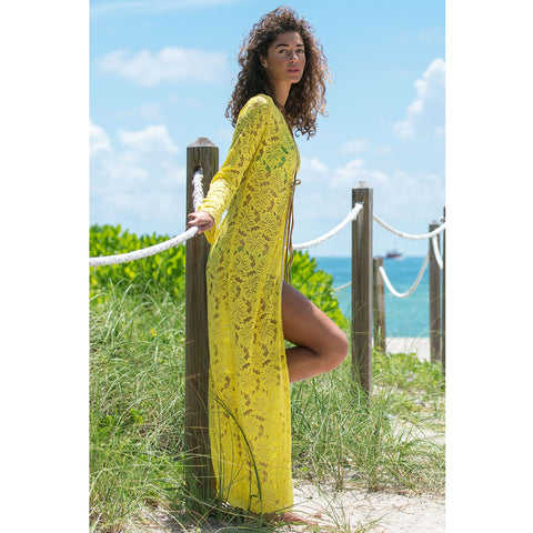 Long Kimono in Yellow Lace -  Thalassa Boom