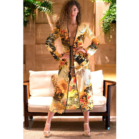 Long Kimono with Flower Zebra Print in Silk -  Thalassa Boom