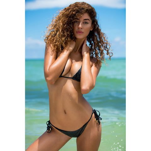 Crack Black Triangle Bikini Top
