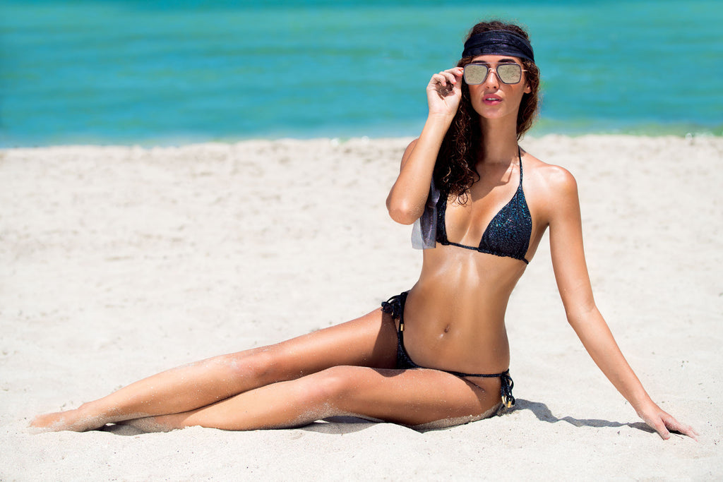 Crack Black Triangle Bikini Top -  Thalassa Boom