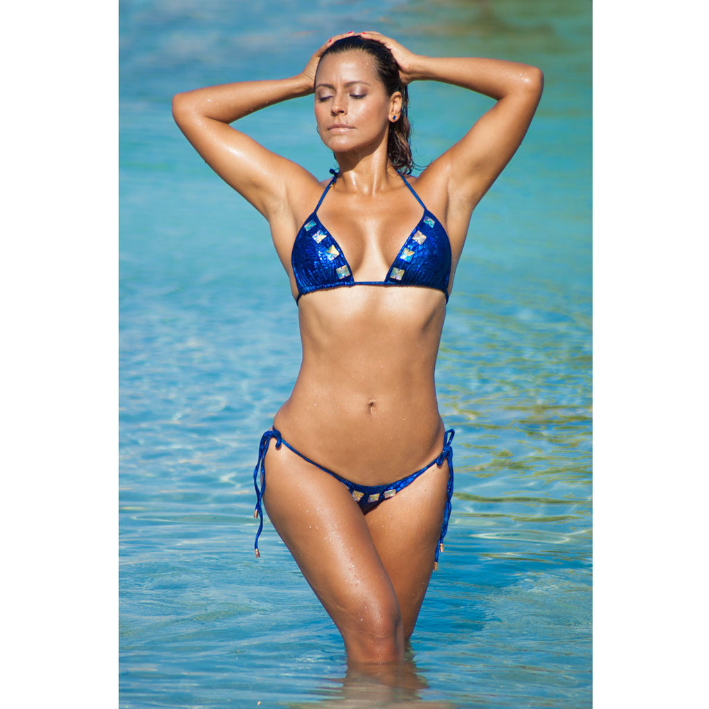 Thalassa Boom Resort Wear, Alligator Blue Ruched Back Tie Sides Bikini Bottom with Swarovski Crystals, Designer swimwear