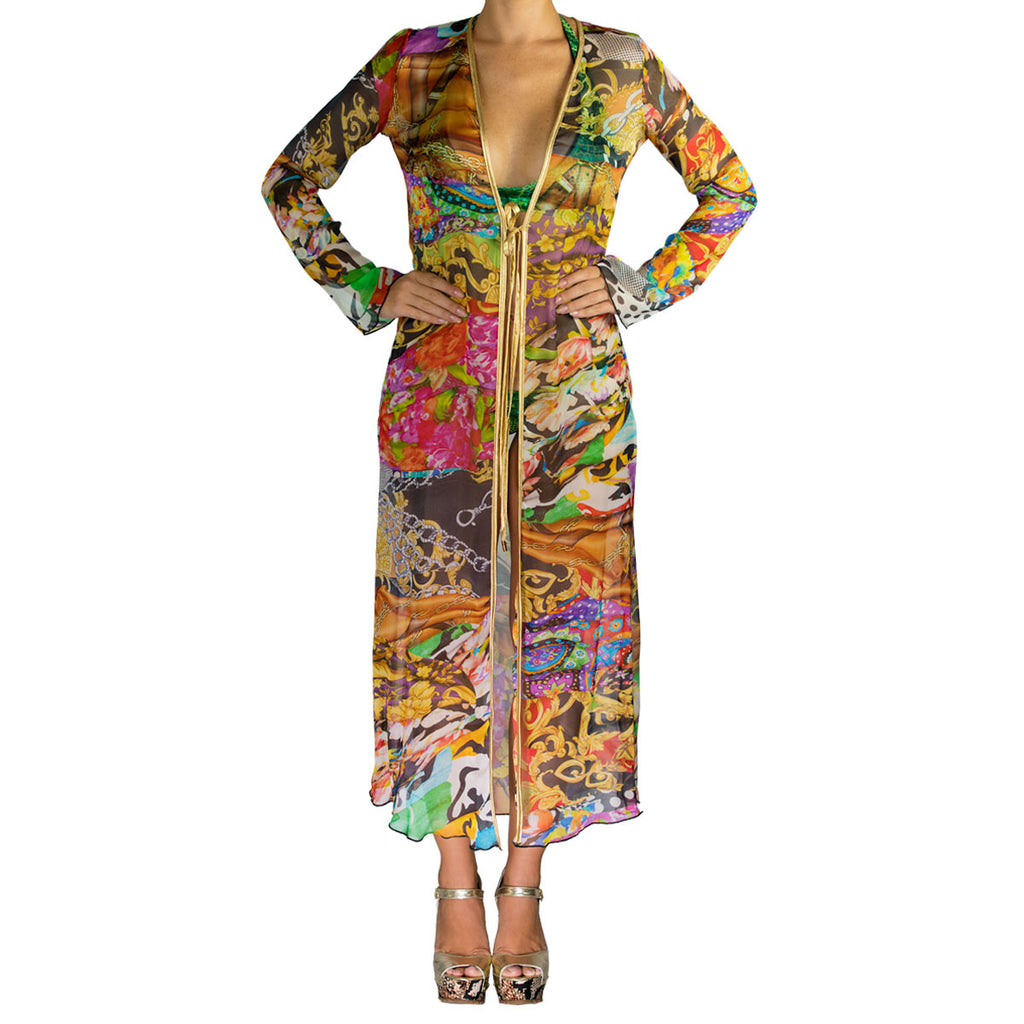 Cover Ups - Long Kimono with Multicolor Print in Organza -  Thalassa Boom Resort Wear