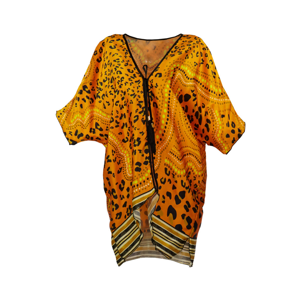 Cover-Ups, Short Kimono with Orange Leopard Print in Silk, Thalassa Boom Resort Wear