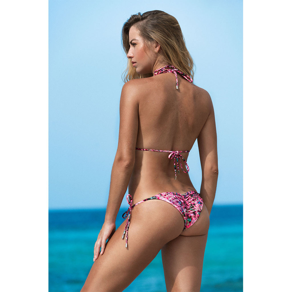 Thalassa Boom Resort Wear, Snake Pink Ruched Back Tie Sides Bikini Bottom, Designer swimwear