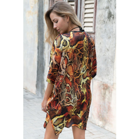 Cover-Ups, Short Kimono with Pretty Snake Print in Silk, Thalassa Boom Resort Wear