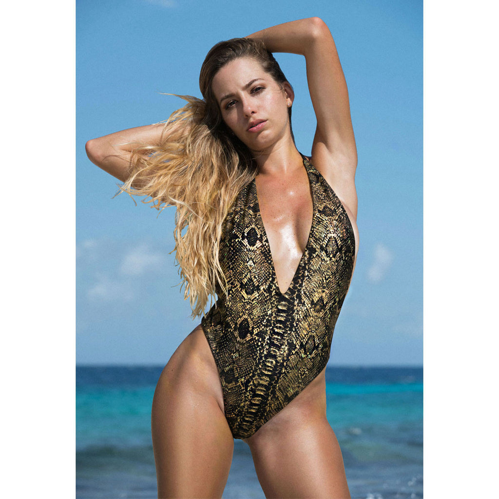 Thalassa Boom Resort Wear, Snake Gold One Piece Swimsuit, swimwear