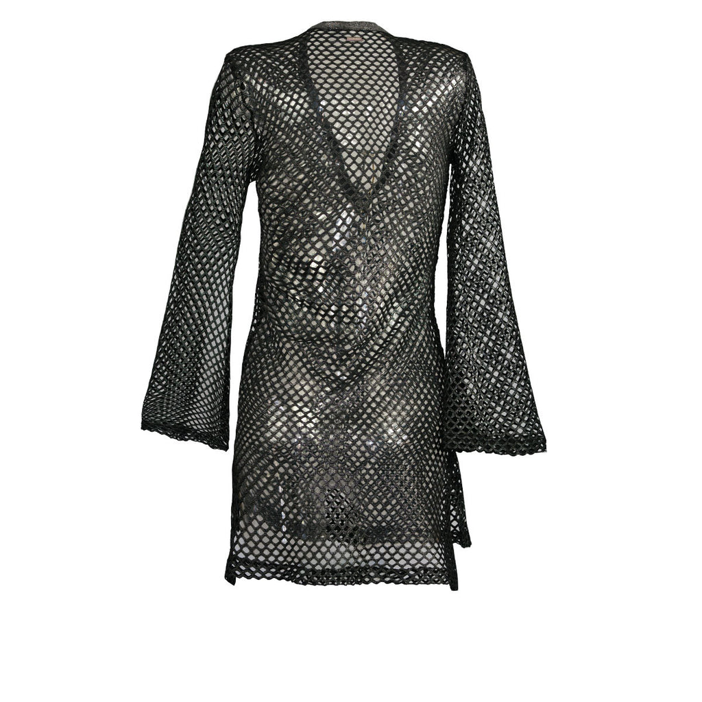Cover Ups, Fitted Tunic with Bell Sleeves in Metallic Silver Net, Thalassa Boom Resort Wear