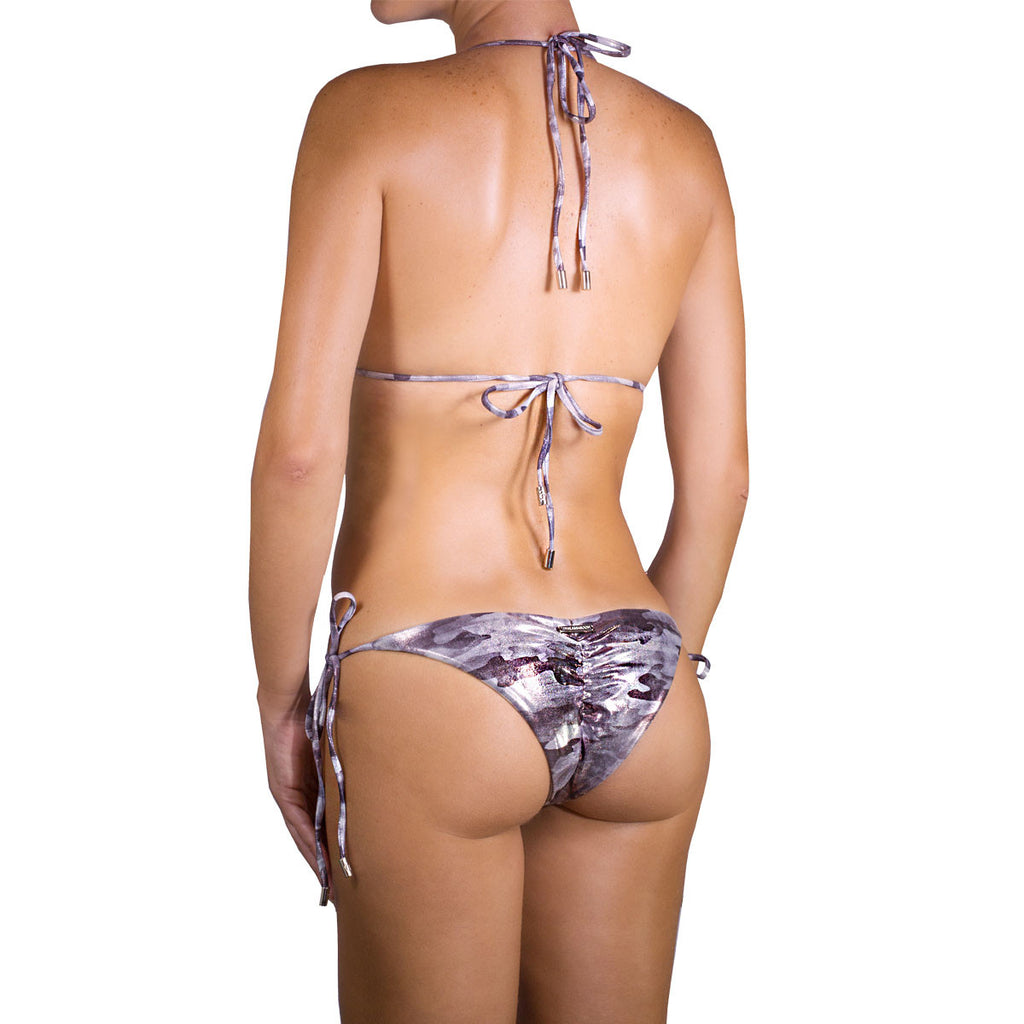 Thalassa Boom Resort Wear, Camouflage Silver Ruched Back Tie Sides Bikini Bottom with Swarovski Crystals, Designer swimwear