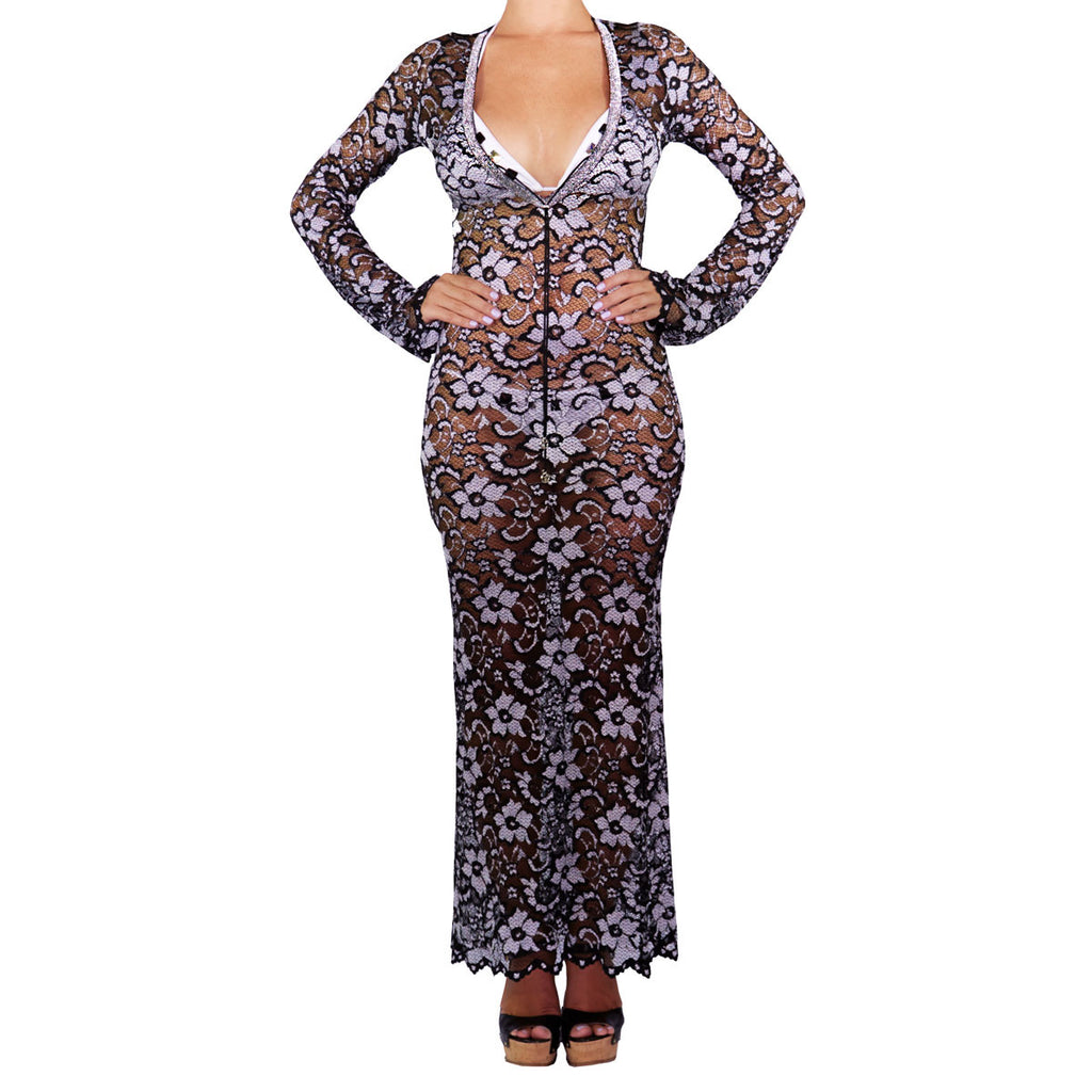 Cover Ups, Fitted Gown Silver & Black Lace,  Thalassa Boom Resort Wear