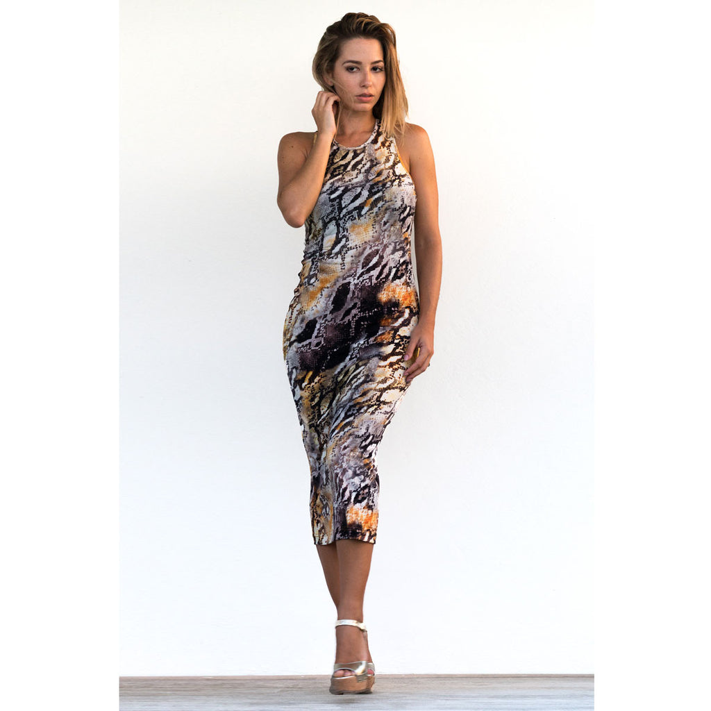 Cover Ups , Fitted Razor Back Dress in Snake Print, Thalassa Boom Resort Wear