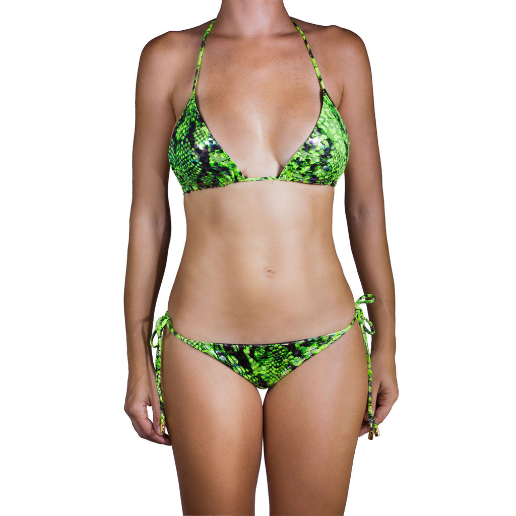 Thalassa Boom Resort Wear, Snake Lime Green Triangle Bikini Top,  designer swimwear