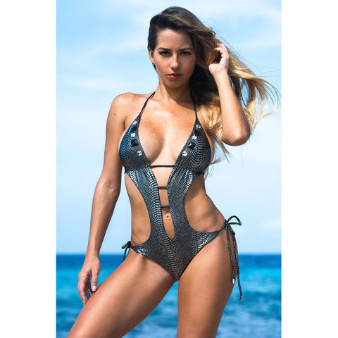 Snake Silver One Piece Monokini Swimsuit with Swarovski Crystals
