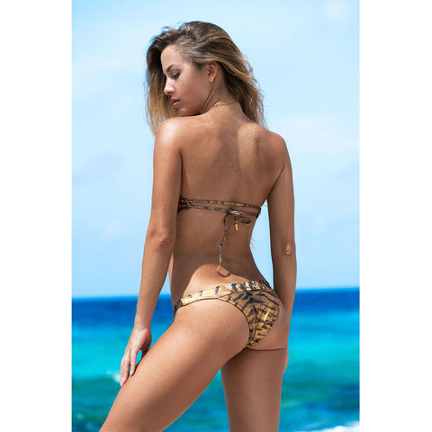 Thalassa Boom Resort Wear, Tiger Gold Bandeau Bikini Top, Designer swimwear