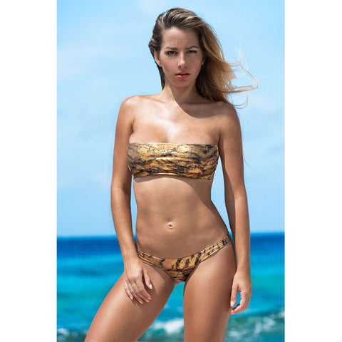 Camouflage Gold Triangle Bikini Top with Swarovski Crystals