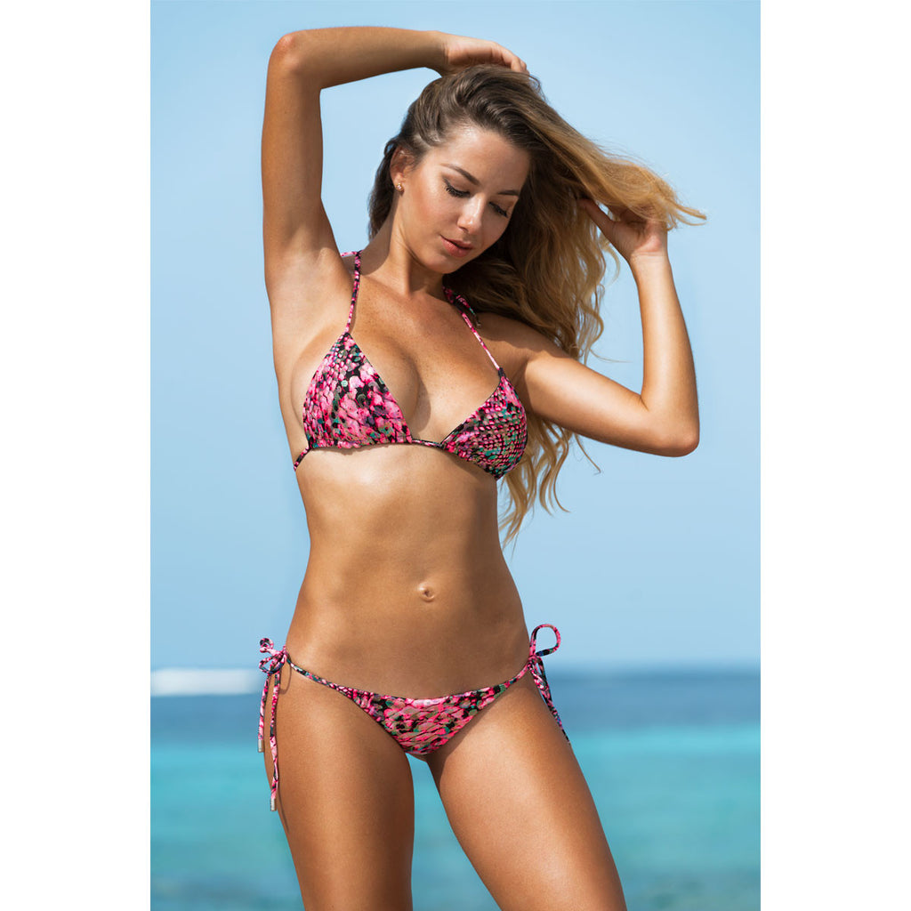 Thalassa Boom Resort Wear, Snake Pink Triangle Bikini Top, Designer swimwear
