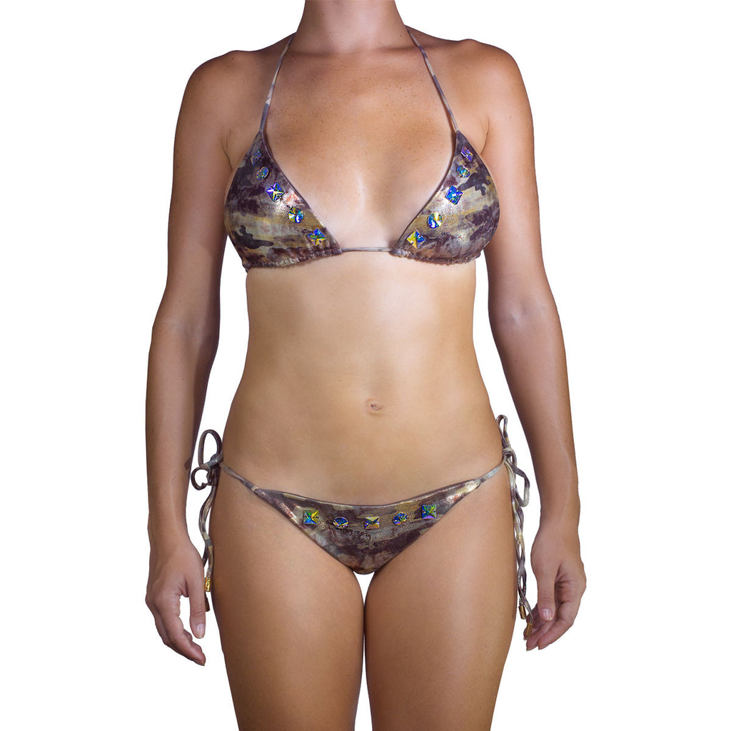 Swimwear - Camouflage Gold Ruched Back Tie Sides Bikini Bottom with Swarovski Crystals -  Thalassa Boom - 10