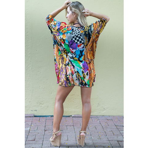 Cover-Ups, Short Kimono with Vibrant Bust Print in Silk, Thalassa Boom Resort Wear
