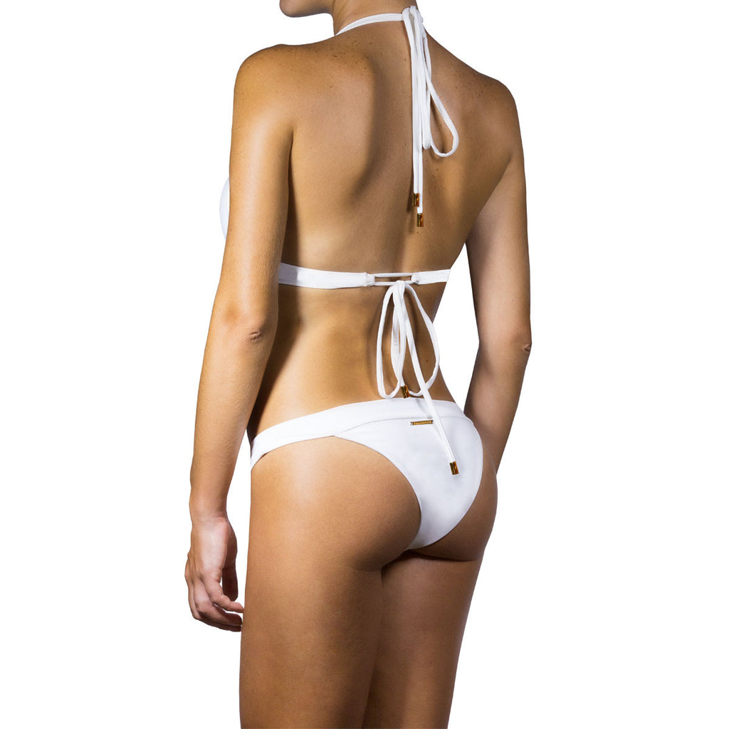 Thalassa Boom Resort Wear, White Solid Cheeky Bikini Bottom, Designer swimwear