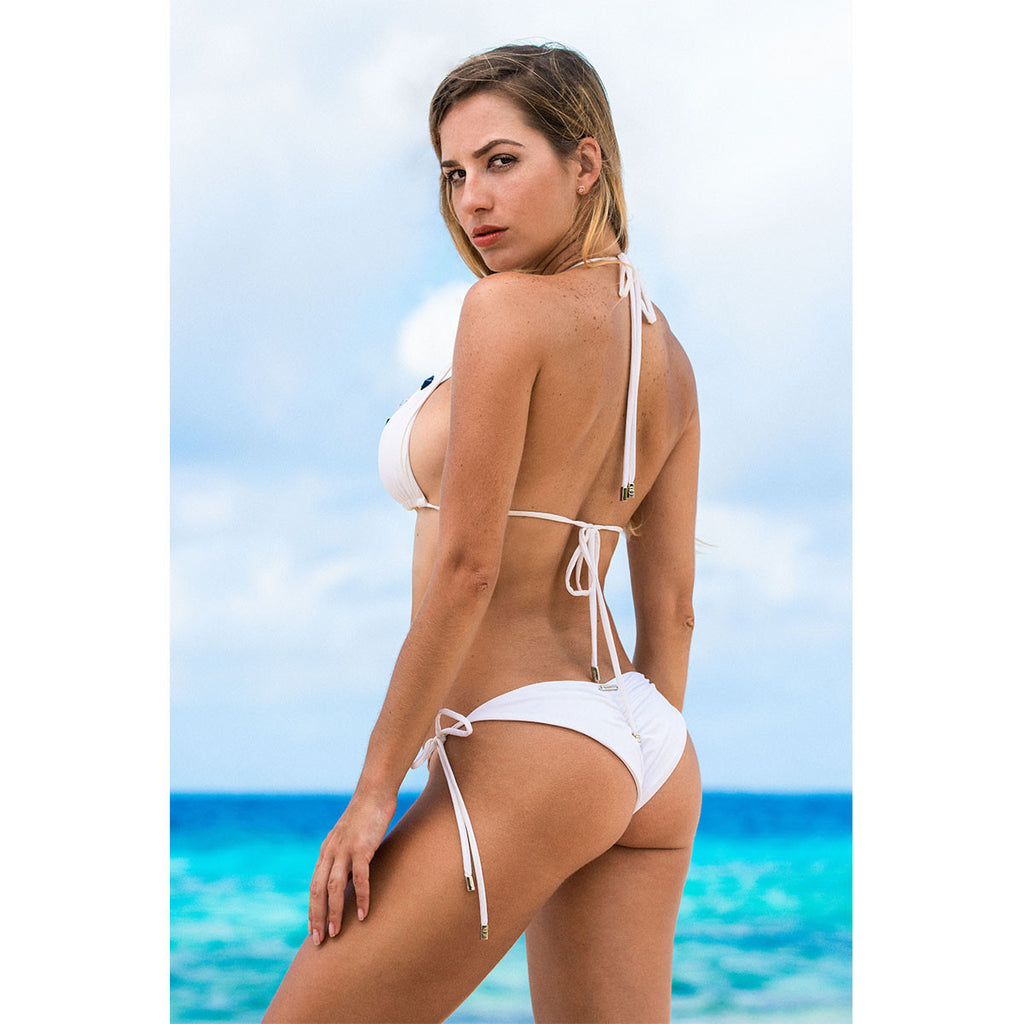 Thalassa Boom Resort Wear, White Solid Ruched Back Tie Sides Bikini Bottom, Designer swimwear