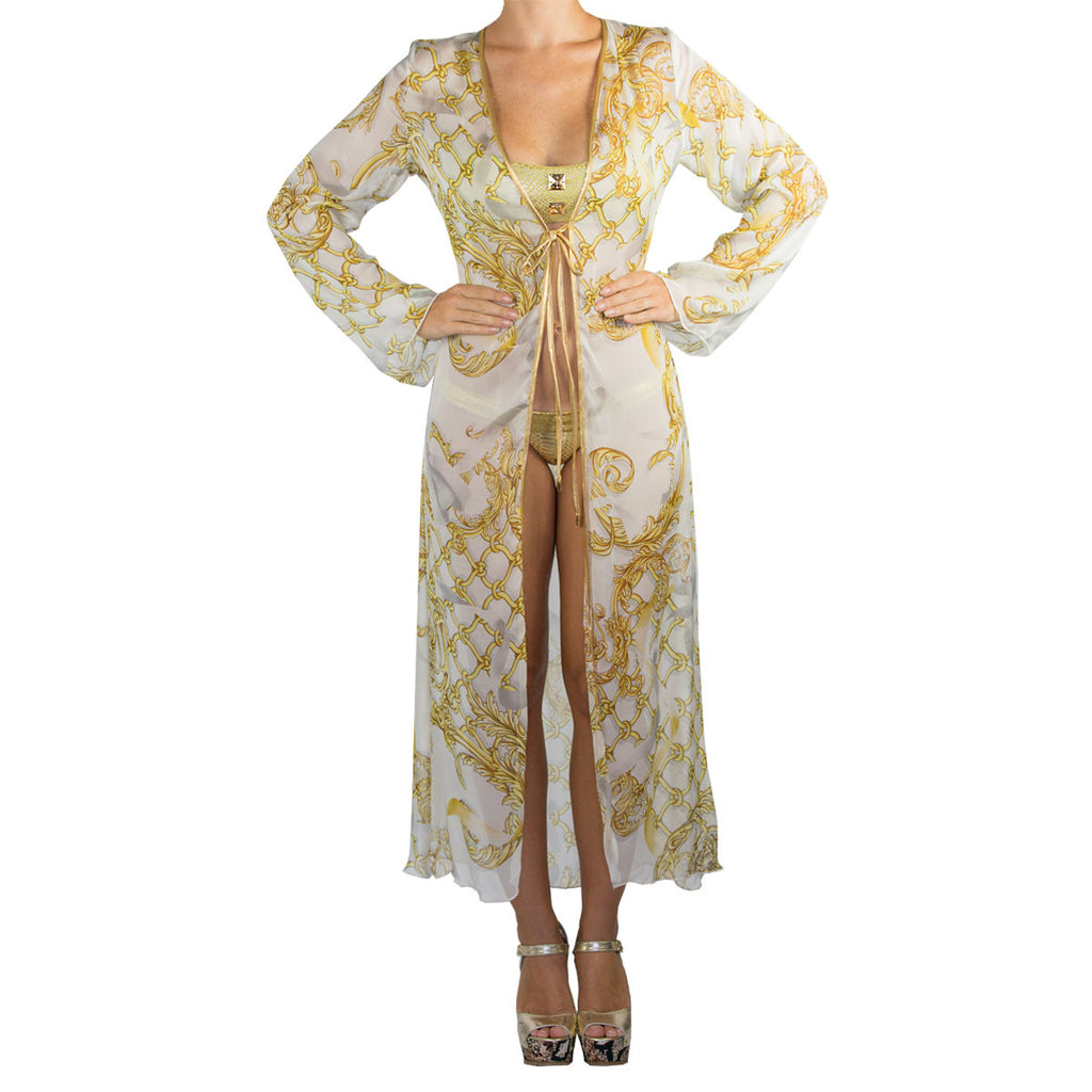 Cover Ups, Long Kimono with Gold Chains on White in Organza, Thalassa Boom Resort Wear