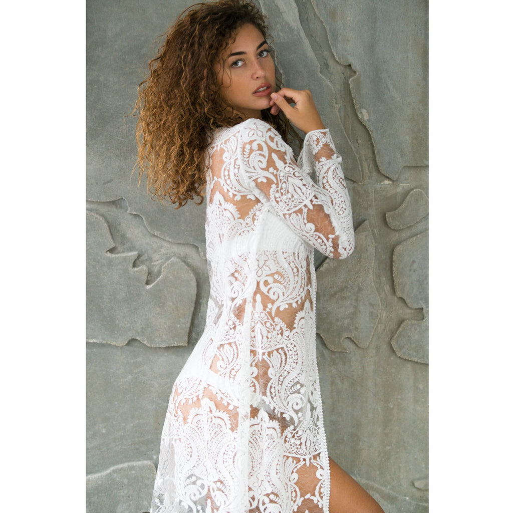 Cover Ups, Long Kimono in White Beaded Lace, Thalassa Boom Resort Wear